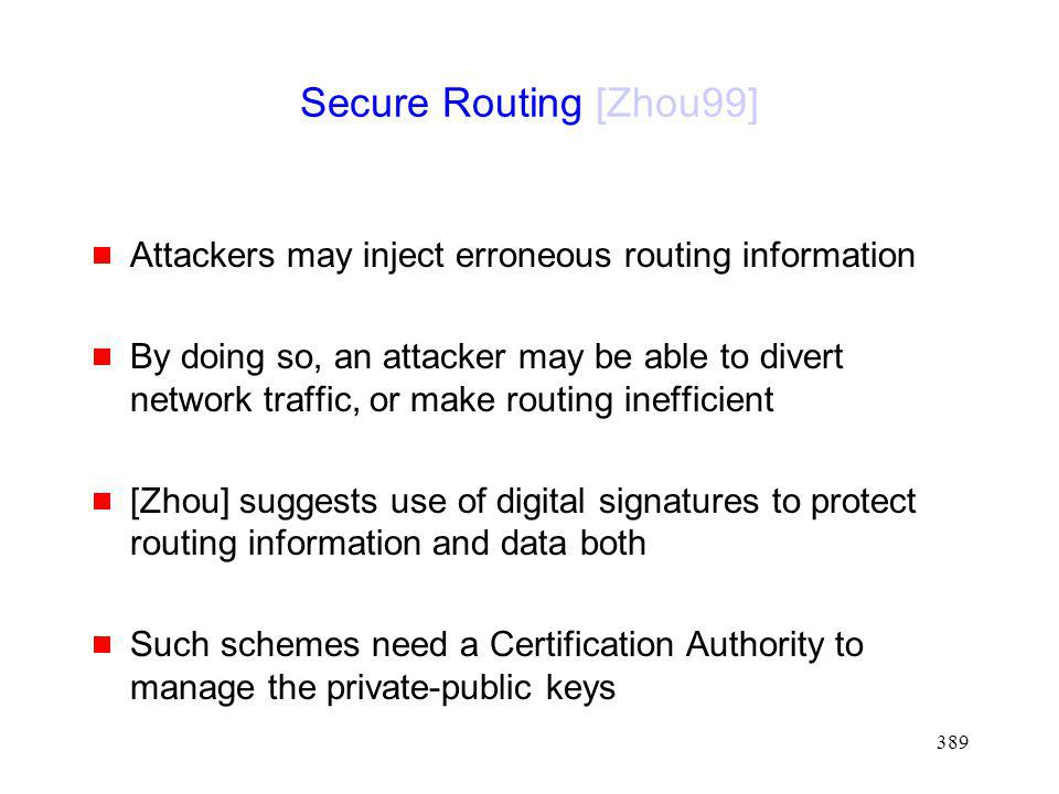 Secure Routing [Zhou99] Attackers may inject erroneous routing information.